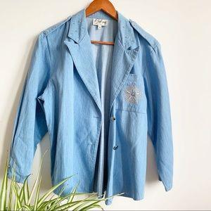 Blazer Blue Jeans Jacket Silver Studs Star Size M